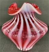 Fenton Cranberry Opalescent Swirl Vase