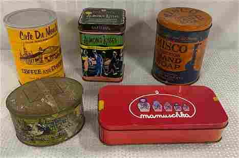 5 Collectable Assorted Tins