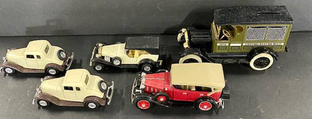 ERTL Diecast Car Bank and 4 Diecast Cars