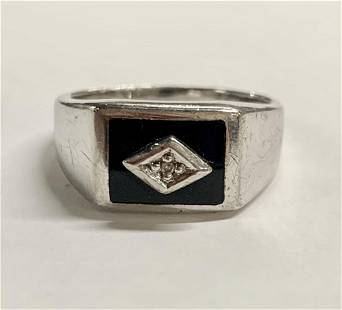 Men's Sterling Ring w/ Onyx & Diamond Chips