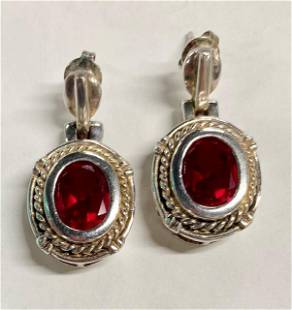 Sterling Earrings with Red Glass Stones