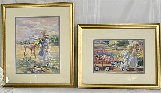 Pair of Gold Framed Decorator Prints