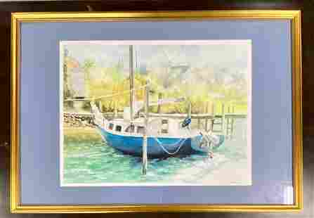 Large Lee Gallagher Sailboat Watercolor