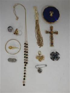 Assorted Costume Jewelry and Compact