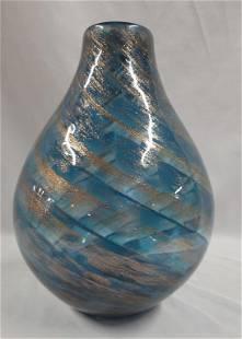 Gold Swirl Blue Art Glass Vase