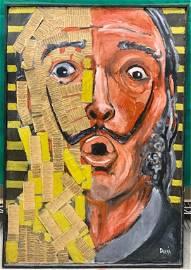 Portrait of Salvador Dali Oil on Board Signed