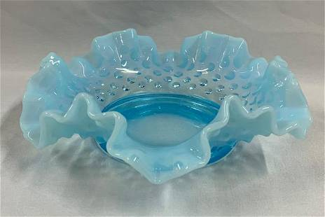 Blue Fenton Hobnail Dish