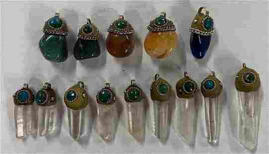 14 Handmade Polished Stone & Crystal Pendants