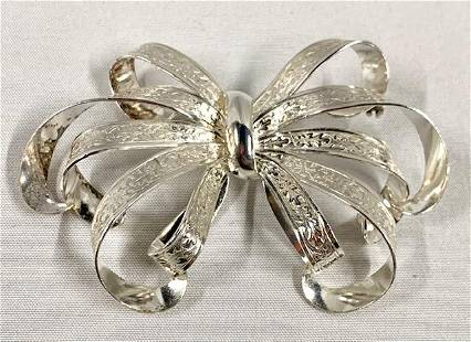 Beautiful Sterling Bow Brooch