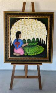"""Large Signed Oil Painting - """"The Flower Seller"""""""