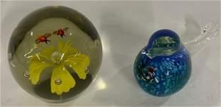 2 Art Glass Paperweights