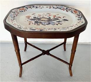 Antique Wood Stand With Porcelain Spode Platter