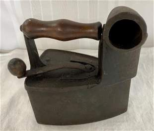 Unusual Antique Coal Sad Iron w/Smoke Stack