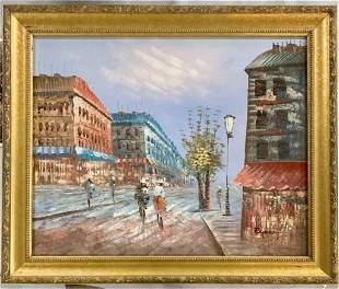 Paris Street Scene Oil Painting Signed Burnz