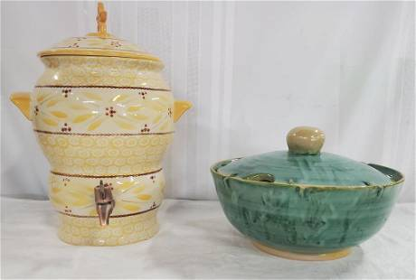 Pottery Water Dispenser And Covered Bowl