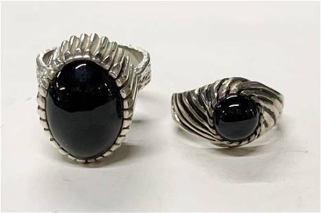 2 Sterling and Onyx Rings