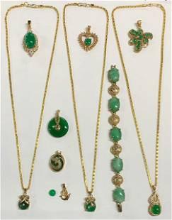 Jade Look Gold Tone Costume Jewelry