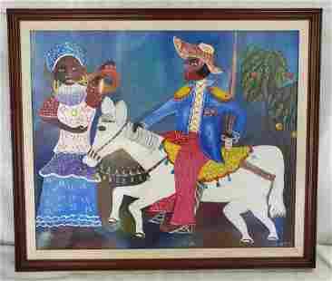 Haitian Art Signed G. Paul Oil on Canvas