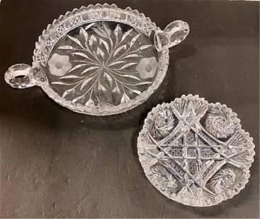 2 Beautiful Cut Glass Dishes