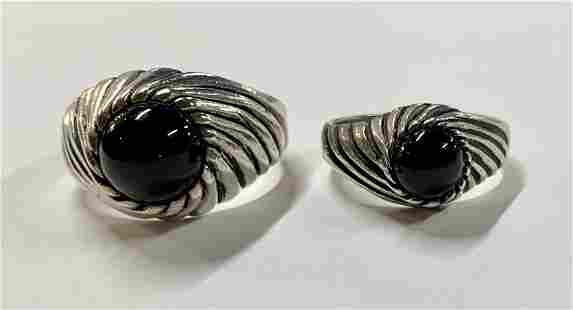 2 Sterling Sarah Coventry Onyx Rings