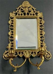 Brass Wall Mirror With 2 Candle Holders