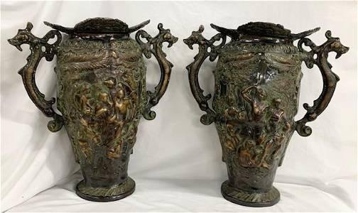 Large Heavy Bronze Art Nouveau Urns/Vases