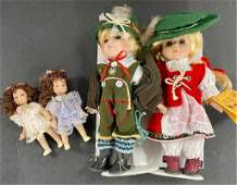 2 r-f Collection Dolls & 2 Small Porcelain Dolls