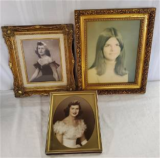 3 Beautiful Gold Frames with Vintage Photos