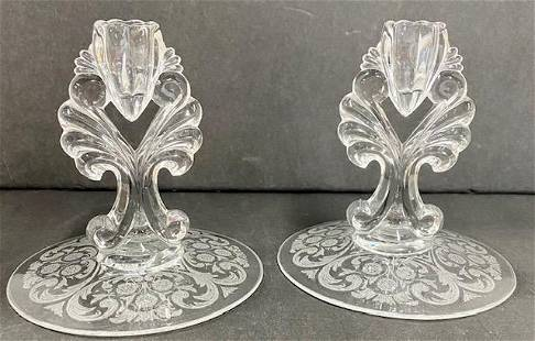 Pair of Etched Candle Holders