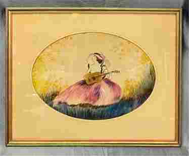 Vintage Painting on Velour