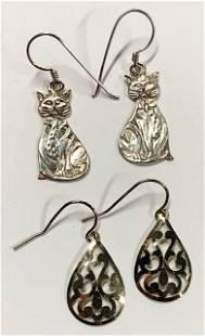 2 Pairs of Sterling Earrings