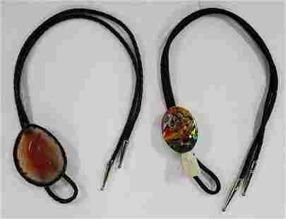 2 Bolo Ties with Stone Accents.