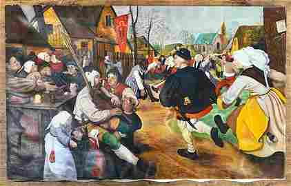 "Sturman Oil Painting 1972 - ""The Peasant Dance"""