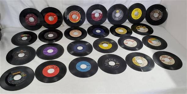 25 Assorted Vintage Used 45 RPM Records.
