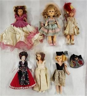 7 Assorted Vintage Dolls