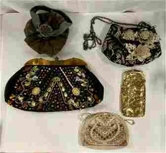 5 Vintage Purses/Clutches/Cigarette Holder