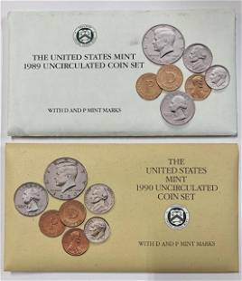 1989 & 1990 US Mint Uncirculated Coin Sets