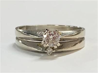 14k  Double Band Diamond Ring  4.1g TW