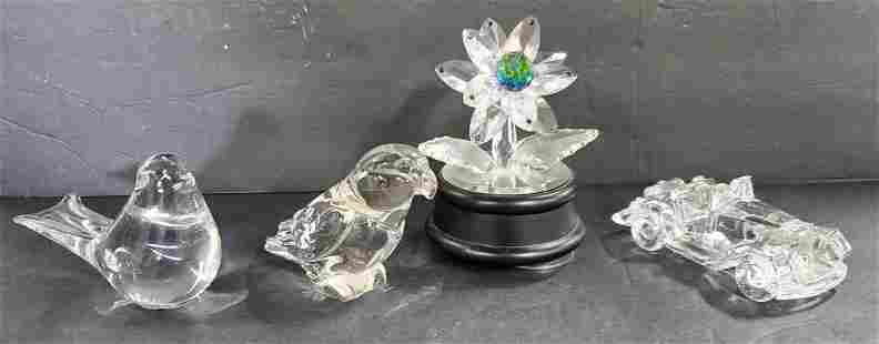 4 Crystal Birds, Car & Flower Figurines