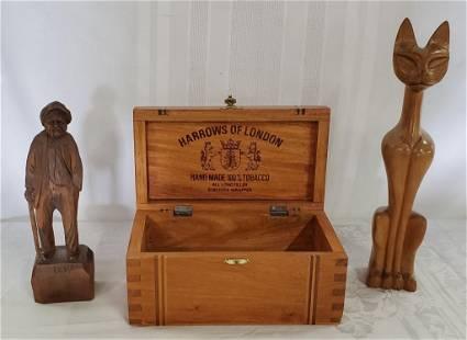 Vintage Wood Box & 2 Wood Figurines