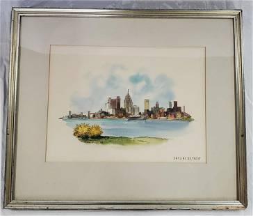 Framed Signed Detroit Skyline Print