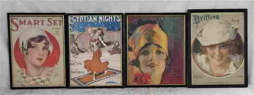 4 Framed Vintage Sheet Music Covers