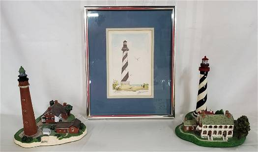 2 Lighthouse Figurines & Cape Hatteras Picture