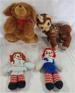 4 Vintage Used Plush Toys