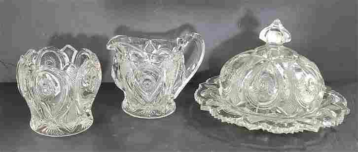 3 Pieces of Pattern Glass