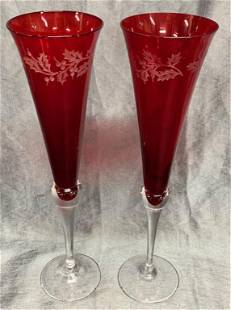 Pair of Red Flutes with Clear Stem