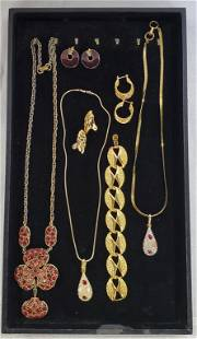 Costume Jewelry -Gold Tones and Red Stones
