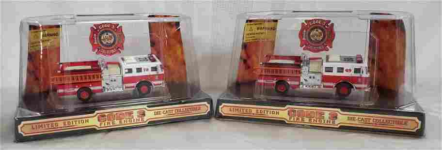 2 Code 3 Die Cast Fire Trucks 1:64 NIB