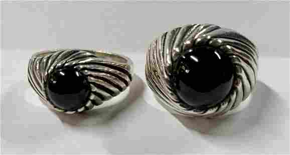 Pair of His and Her Sterling Onyx rings