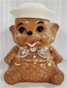 Signed Baby Elephant w/ Sailor Hat Cookie Jar
